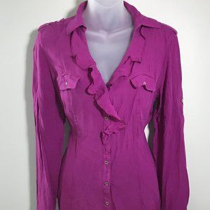 WHBM Silk Purple/Pink Button-Up Blouse, Sz 8